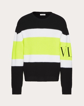 Valentino Crew-neck Sweater With Vltn Intarsia Man Black/neon Yellow Virgin Wool 100% M