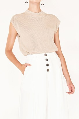 Paisie Sleeveless Top with Wide Ribs and High Neck in Beige