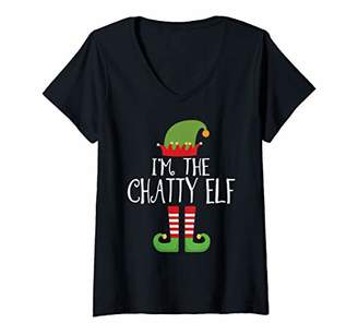 Womens The Chatty Elf Family Matching Group Christmas Gift V-Neck T-Shirt