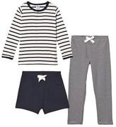Petit Bateau Navy and White 3 Piece Pyjamas Set