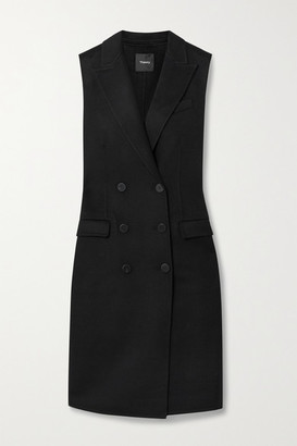 Theory Double-breasted Wool And Cashmere-blend Felt Vest - Black