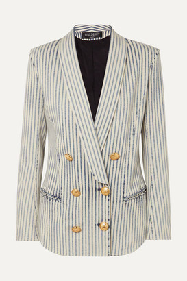 Balmain Double-breasted Striped Stretch-denim Blazer - Light blue