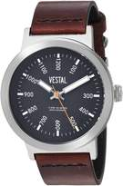 Vestal Men's 'Retrofocus' Quartz Stainless Steel and Leather Casual Watch, Color:Brown (Model: SLR443L01.3VBK)