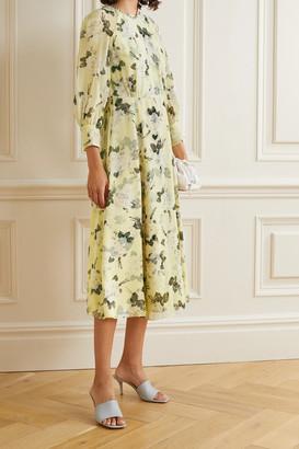 Erdem Yusra Floral-print Silk-voile Midi Dress - Pastel yellow