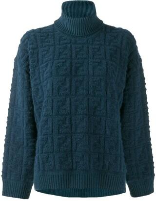 Fendi knitted FF motif patterned sweater
