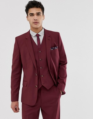 Asos Design DESIGN skinny suit jacket in burgundy-Red