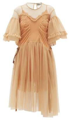 Preen by Thornton Bregazzi Petra Ruffled Tulle Dress - Beige