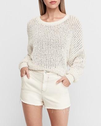 Express Super High Waisted White Frayed Hem Jean Shorts