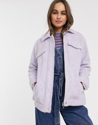 ASOS DESIGN oversized borg jacket in lilac