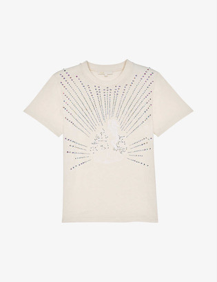 Maje Telly embellished organic-cotton T-shirt