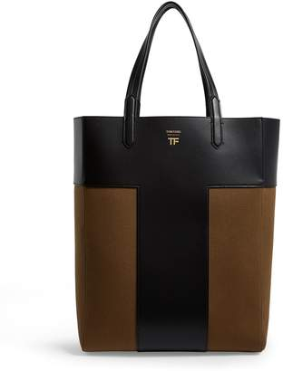 Tom Ford Leather Canvas T Tote Bag