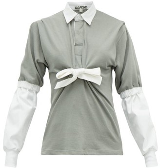 Symonds Pearmain - Contrast-sleeve Tie-front Cotton-jersey Rugby Top - Grey