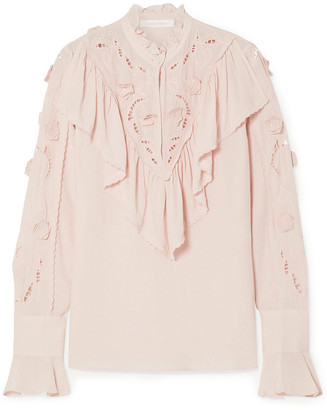 See by Chloe Appliqued Ruffled Broderie Anglaise Crepe De Chine Blouse