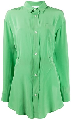 Societe Anonyme long length patch pocket silk shirt