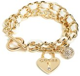 GUESS Women's Gold-Tone Charm Toggle Bracelet