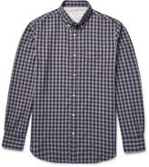 Officine Generale Button-Down Collar Gingham Cotton-Flannel Shirt