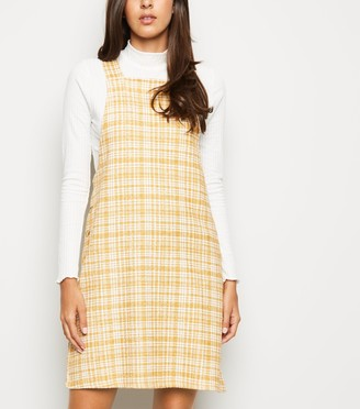 New Look Textured Check Pinafore Dress