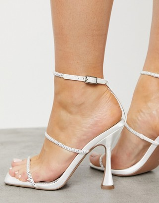 ASOS DESIGN Negotiate barely there diamante high heeled sandals in ivory