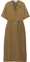 Barbara Casasola Belted Taffeta Midi Dress - Tan