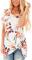 Dokotoo Womens Short Sleeve Floral Print Knot Front Blouse Top M