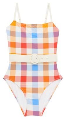 Solid & Striped The Nina Gingham Belted Swimsuit - Multi