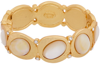 Kenneth Jay Lane 22K Plated Mother-Of-Pearl Glass Crystal Bangle Bracelet