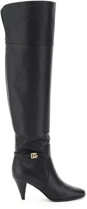 Dolce & Gabbana CAROLINE LEATHER BOOTS 35 Black Leather
