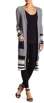 Dance and Marvel Striped V-Neck Long Sleeve Fitted Cardigan