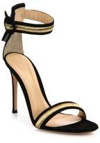 Gianvito Rossi Marshal Metallic-Trim Suede Ankle-Strap Sandals
