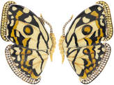 Silvia Furmanovich White and Yellow Marquetry Butterfly Earrings