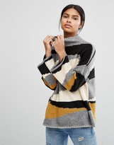 Vila Color Block High Neck Sweater