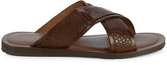 Saks Fifth Avenue Made In Italy Crisscross Leather Slides