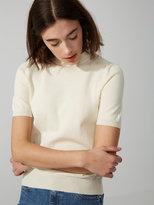 Frank + Oak Short-Sleeve Cotton-Blend Mockneck Sweater in Snow White