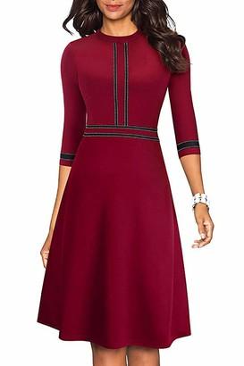 HenzWorld Women Red Dress Back Zipper A-line Elegant Solid Color Midi Dress Laides Casual Round Neck 3/4 Sleeve Dress Size L