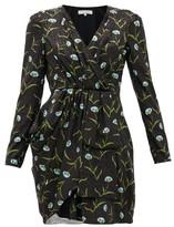 Borgo de Nor Hani Carnation-print Satin-jacquard Dress - Womens - Black Blue