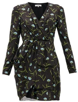 Borgo de Nor Hani Carnation-print Satin-jacquard Dress - Black Blue