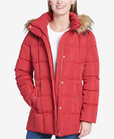 Tommy Hilfiger (トミー ヒルフィガー) - Tommy Hilfiger Petite Faux-Fur-Trim Box-Quilted Coat