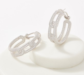 Judith Ripka Sterling Silver or 14K Clad Diamonique Curb Link Earrings