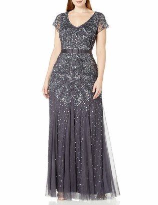 Adrianna Papell Women's Plus Size Cap Sleeve V-Neck Fully Beaded Gown