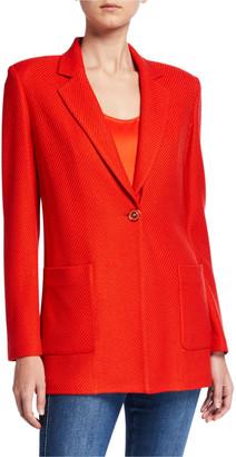St. John Diagonal Knitted Twill Blazer Jacket
