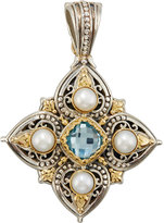 Konstantino Amphitrite Cushion-Cut Topaz & Four-Pearl Cross Pendant Enhancer