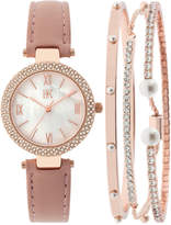 INC International Concepts Women's May Blush Leather Strap Watch and Bangle Set 30mm, Only at Macy's