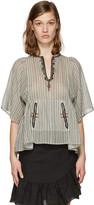 Etoile Isabel Marant Ecru Embroidered Stripe Joy Blouse