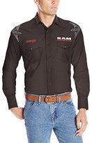 Wrangler Men's Western Logo Long Sleeve Woven Shirt