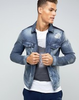 Sisley Denim Jacket With Panels And Rip Repair Detail