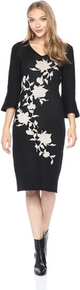 Gabby Skye Women's Bell Sleeve V Neck Midi Sweater Sheath Dress