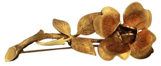 Tiffany & Co. 14K Yellow Gold Flower Brooch Pin