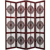 Oriental Furniture 6-Feet Long Life Japanese Folding Shoji Screen with Chinese Symbol Lattice