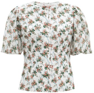 Emilia Wickstead Selena Puffed-sleeve Floral-print Cotton Top - White Multi