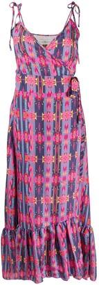Jessie Western Flounced Geometric Print Silk Dress